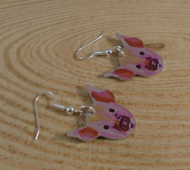 Anodised Aluminium Pig Drop Earrings AAE101902