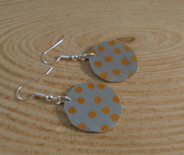 Anodised Aluminium Orange Flower Circle Drop Earrings AAE101904