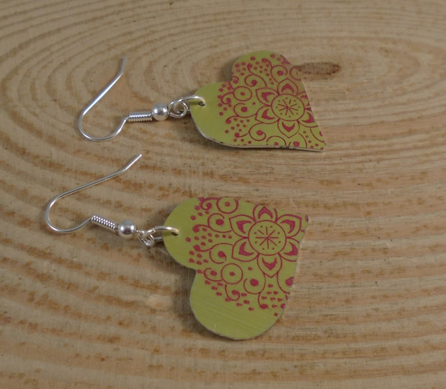 Anodised Aluminium Mandala Heart Drop Earrings AAE101905
