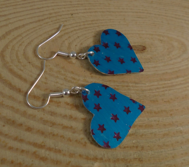 Anodised Aluminium Star Heart Drop Earrings AAE101913