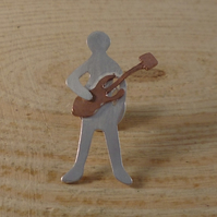 Sterling Silver and Copper Guitarist Pin Brooch