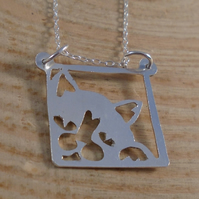 Sterling Silver Pierced Cat Necklace