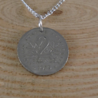Upcycled Two Franc Coin Necklace SPN091906