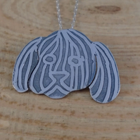 Sterling Silver Etched Shih Tzu Necklace