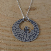 Sterling Silver Etched Egyptian Goddess Necklace