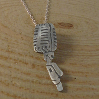 Sterling Silver Etched Microphone Necklace