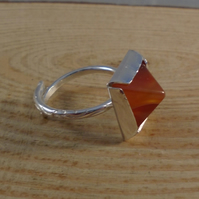 Sterling Silver Carnelian Pyramid Adjustable Ring