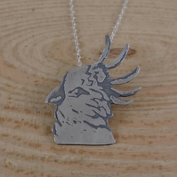 Sterling Silver Etched Cockatoo Necklace