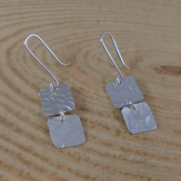 Sterling Silver Double Textured Squares Drop Earrings