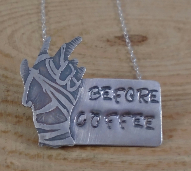 Sterling Silver Zombie Hand 'Before Coffee' Necklace