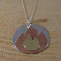 Sterling Silver, Copper and Brass Fire Necklace