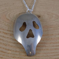 Upcycled Silver Plated Skull Pierced Spoon Necklace SPN101902