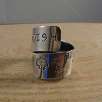 Sterling Silver Stamped 'Wish' Adjustable Ring