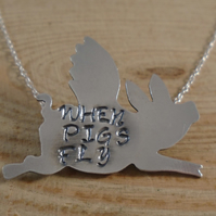 Sterling Silver Stamped 'When Pigs Fly' Flying Pig Necklace