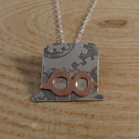 Sterling Silver and Copper Steampunk Hat Necklace