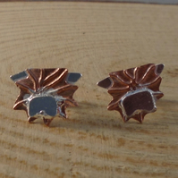 Copper and Sterling Silver Highland Cow Stud Earrings