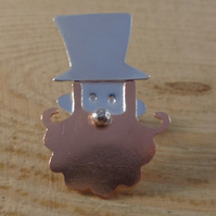 Sterling Silver and Copper Leprechaun Pin Brooch