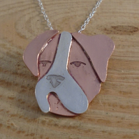 Copper and Sterling Silver Boxer Dog Necklace