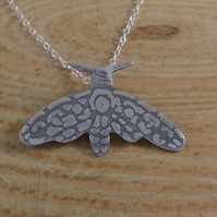 Sterling Silver Etched Moth Necklace