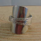 Upcycled Silver Plated Zig Zag Wrap Spoon Ring SPR052002