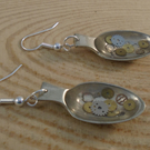 Upcycled Silver Plated Cog Sugar Tong Spoon Earrings SPE042017