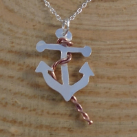 Sterling Silver and Copper Anchor Necklace