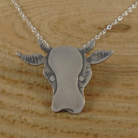 Sterling Silver Etched Cow Necklace