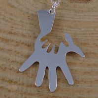 Sterling Silver Hand In Hand Necklace