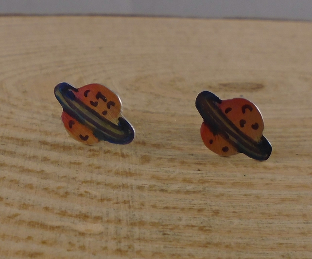 Anodised Aluminium Planet Stud Earrings AAE072002