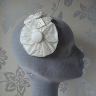 Ivory Silk and Lace Bridal Headpiece with Rosettes and Buttons