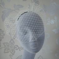 Ivory-Black Short Bridal Birdcage Veil