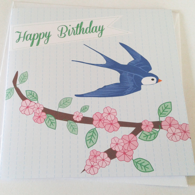 Swallow Birthday Card with Cherry Blossoms