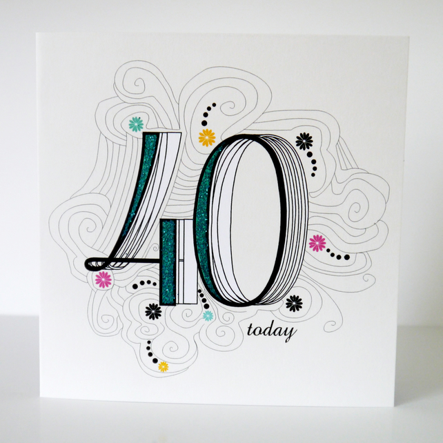 40th birthday card folksy 40th birthday card bookmarktalkfo Image collections