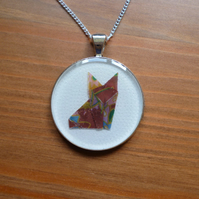 Origami fox necklace, paper fox jewellery, kawaii necklace