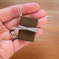 Leather book necklace, miniature book jewellery