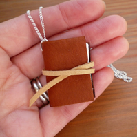 Book necklace, Miniature book jewellery, brown leather book