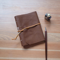 A6 hand bound leather journal, upcycled leather notebook, brown leather