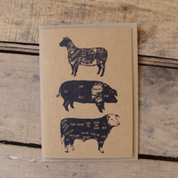 Vintage Style Meat Cuts Card