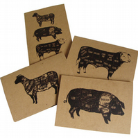 Vintage Style 'Meat Cuts' Cards- Set of four