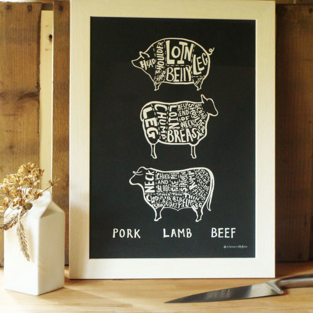 Framed Lamb, Pork and Beef Print