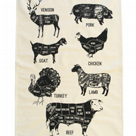 All the cuts- Meat Cuts Tea Towel