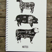 Large white Meat Cuts Notebook