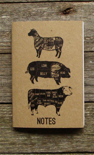 A6 Buff Cover Meat Cuts Notebook