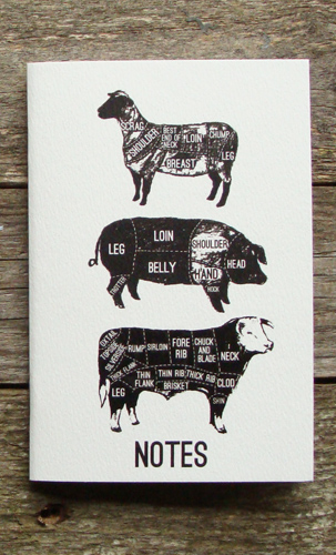 A6 White Cover Meat Cuts Notebook