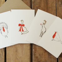 Pack of four Christmas Animal Cards