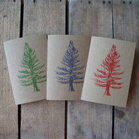 Pack of 3 Colourful Fir Tree Cards (Buff)