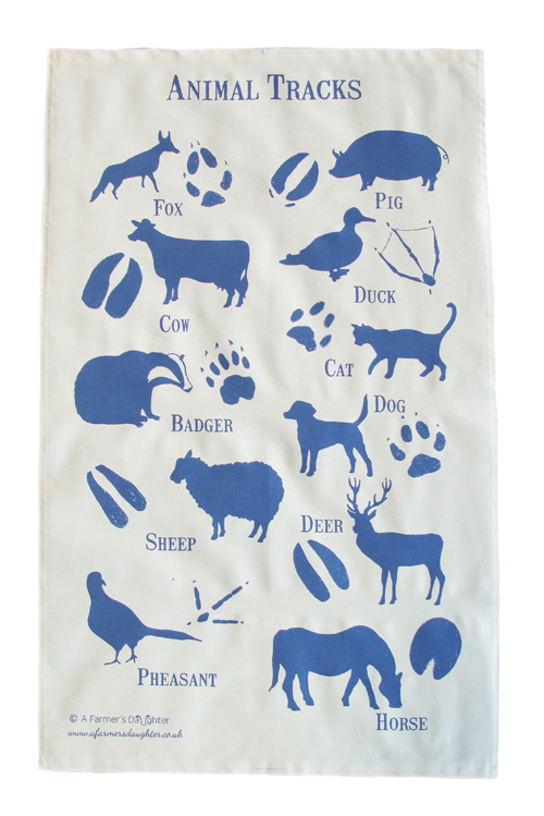 Animal Tracks Tea Towel
