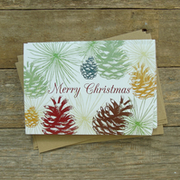 Merry Christmas Fircones Cards- Pack of 5