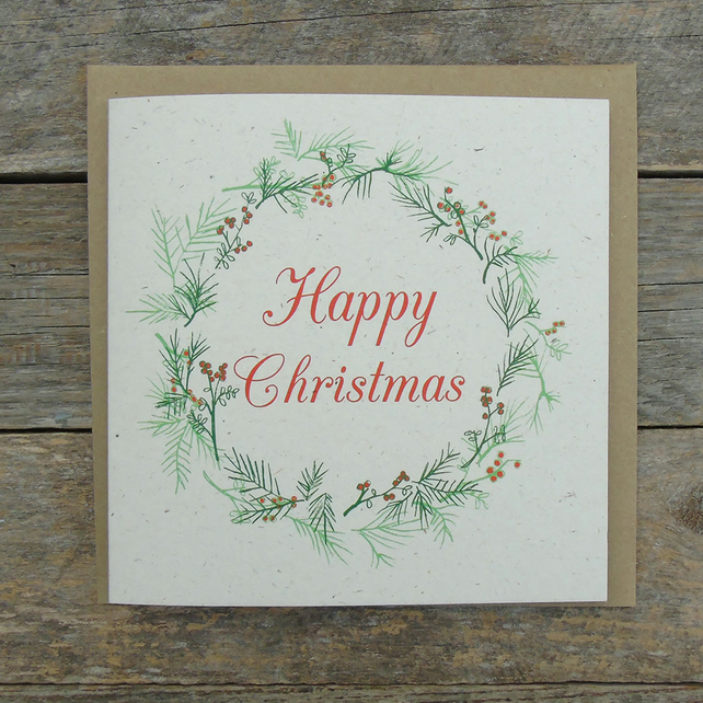 Fir Tree Wreath Christmas Card
