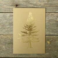 Foiled Golden Tree Christmas Card